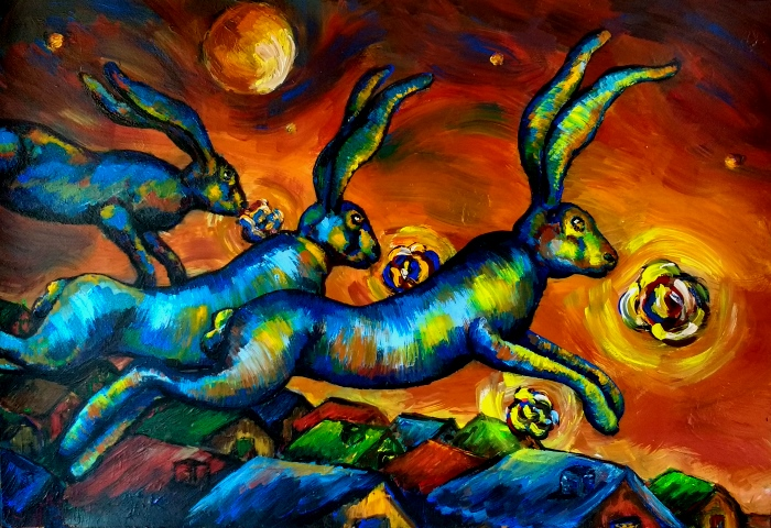 The flying blue hares, 70 x 100 cm, acrylic on paper, 2019